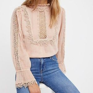free people / fp one victoria pink lace mock neck